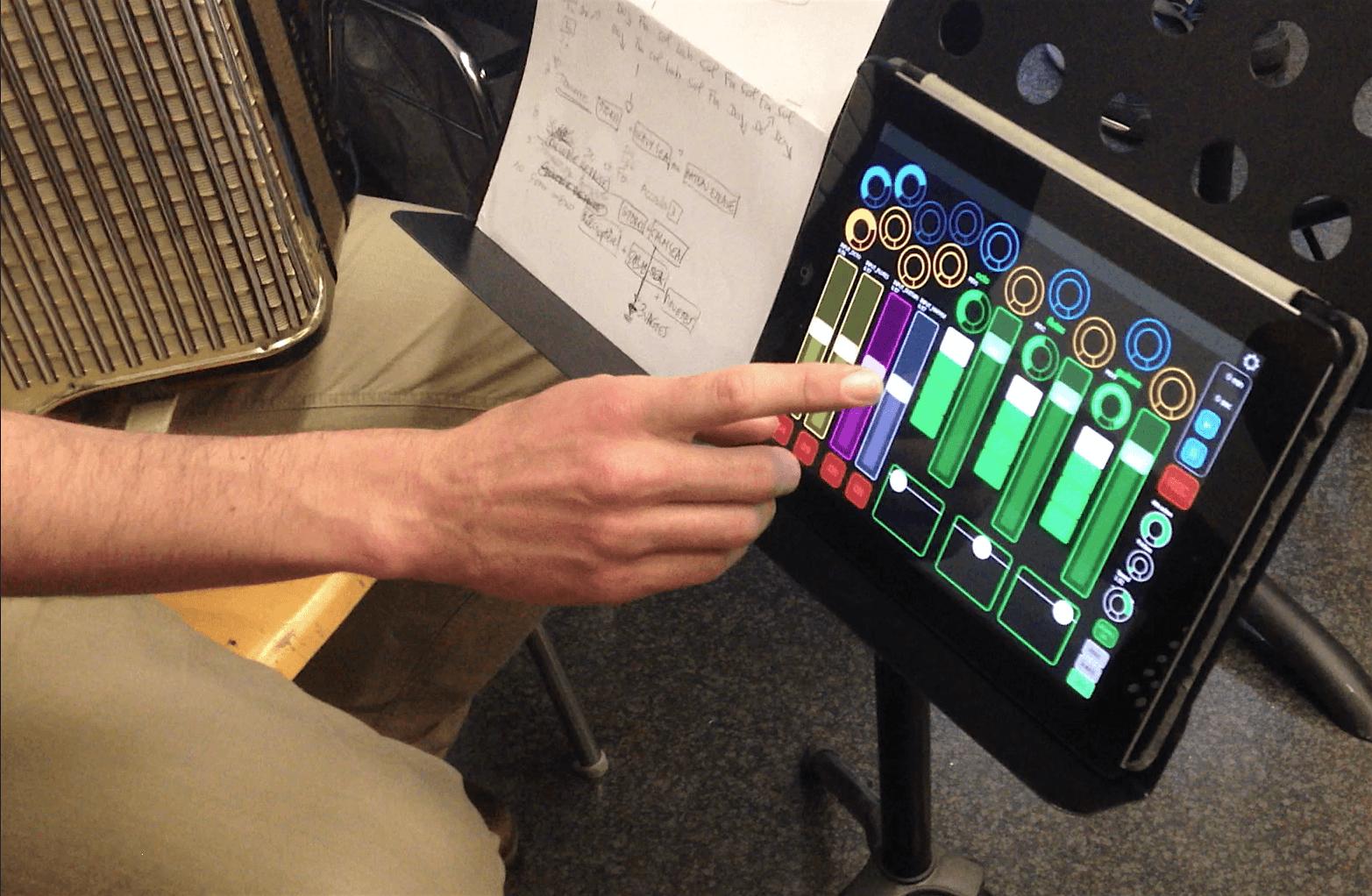accordéon et paysage sonore télécommandé sur un ipad