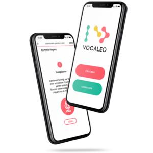 l'appli Vocaleo sur 2 iphones